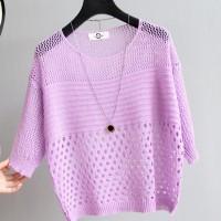 Hollow Half Sleeve Summer Wear Outwear Top - Purple