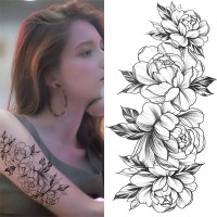 Floral Printed Easy Moisture Applicable Tattoo - Design IV