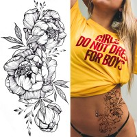 Floral Printed Easy Moisture Applicable Tattoo - Design V