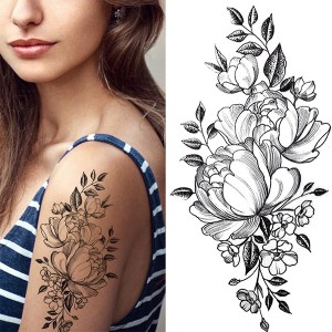 Floral Printed Easy Moisture Applicable Tattoo - Design VI