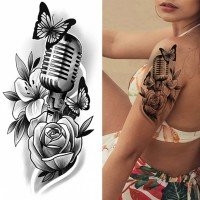 Floral Printed Easy Moisture Applicable Tattoo - Design XXV