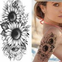 Floral Printed Easy Moisture Applicable Tattoo - Design 34