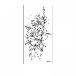 Floral Printed Easy Moisture Applicable Tattoo - Design 40