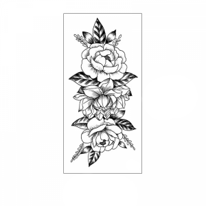 Floral Printed Easy Moisture Applicable Tattoo - Design 51