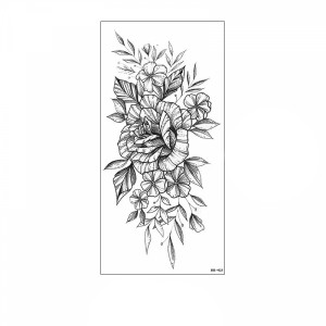Floral Printed Easy Moisture Applicable Tattoo  - Design 62