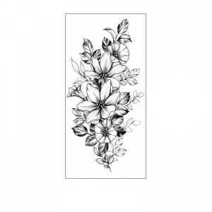 Floral Printed Easy Moisture Applicable Tattoo  - Design 72