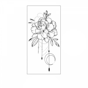 Floral Printed Easy Moisture Applicable Tattoo - Design 75