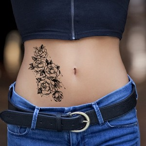 Floral Printed Easy Moisture Applicable Tattoo - Design 77