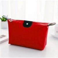 Zipper Closure Cosmetics Multi Purpose Traveller Bags - Red