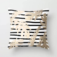 Striped Background Leaves Design Cushion Cover