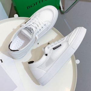 Sports Casual Wear Flat Sole Lace Closure Sneakers - White