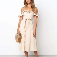 Off Shoulder Waist Belt Solid Color Midi Dress - Apricot