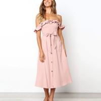 Off Shoulder Waist Belt Solid Color Midi Dress - Pink