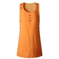 Sleeveless Button Patched Round Neck Mini Dress - Orange