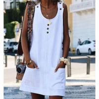 Sleeveless Button Patched Round Neck Mini Dress - White