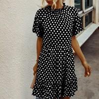 O Neck Short Sleeves Mini Dress - Black and White