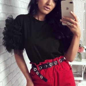 Round Neck Ruffled Sleeve Party Wear Tops - Black