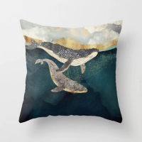 Swimming Whales Design Cushion Cover