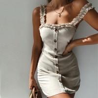 Ruffled Strap Button Closure Body Fitted Mini Dress - Gray