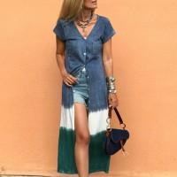 Button Closure Short Sleeves Outwear Contrast Dress - Blue