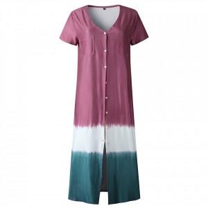 Button Closure Short Sleeves Outwear Contrast Dress - Pink