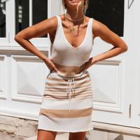 Printed Sleeveless Deep Neck Mini Dress - Khaki