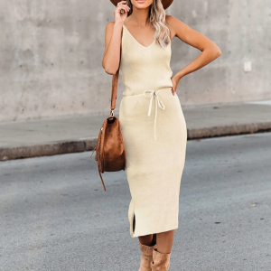 Deep V Neck Solid Color Body Fitted Midi Dress - Apricot