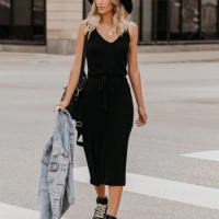 Deep V Neck Solid Color Body Fitted Midi Dress - Black