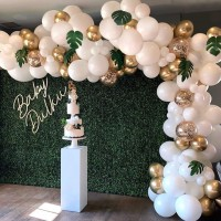 136 Pcs Balloon Garland Arch Kit Confetti Balloons Artificial Palm Leaves Balloons for Parties