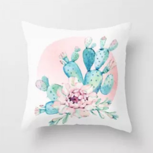 Kalanchoe with Pink Flower Design Cushion Cover