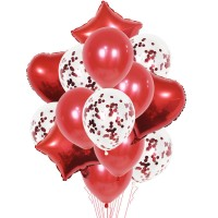 Set Of 14 Pcs Confetti Balloon Set Free Ribbon Party Balloons Decoration