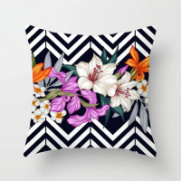Colorful Lily Design Cushion Cover