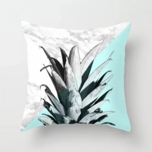 White and Blue Pineapple Marble Design Cushion Cover