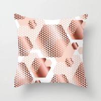 Geometrical Rose Gold Design Cushion Cover