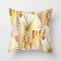 Palm Leaves Rose Gold Design Cushion Cover
