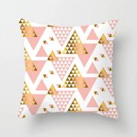 Geometric Triangle Rose Gold Design Cushion Cover