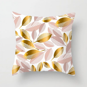 Gold and Rose Gold Leaves Design Cushion Cover