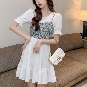 Flower Printed Slim Girls Casual Dress - White