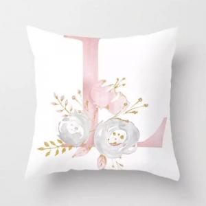 1 Piece Floral Letter L Design Decorative Cushion Cover