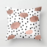Polka Dots With Rose Gold Clouds Design Cushion Cover