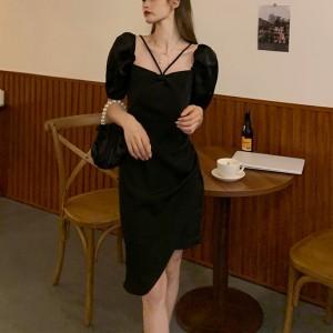 Temperament Halter Neck Bow Irregular Dress - Black