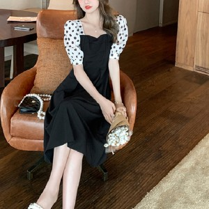 Polka Dot Short Sleeved Slimming Loose Dress - Black