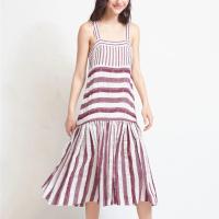 Stripes Printed Sleeveless Fashion Wear Midi Dress - Red