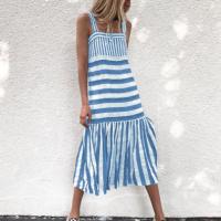 Stripes Printed Sleeveless Fashion Wear Midi Dress - Blue