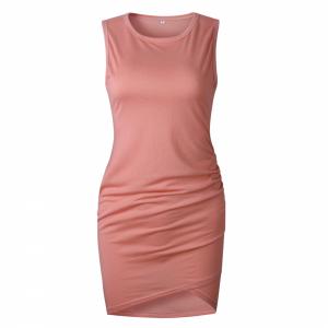 Sleeveless Body Fitted Women Fashion Mini Dress - Pink