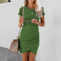 Round Neck Solid Color Body Fitted Mini Dress - Green