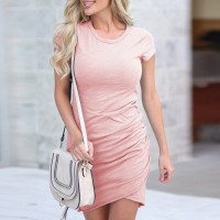 Round Neck Solid Color Body Fitted Mini Dress - Pink