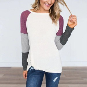 Raglan Sleeved Multicolor Patched Summer Wear T-Shirt - Purple