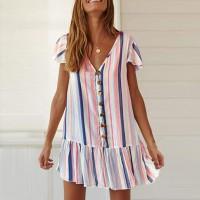 Deep V Neck Stripes Printed Beach Wear Mini Dress - Multicolor