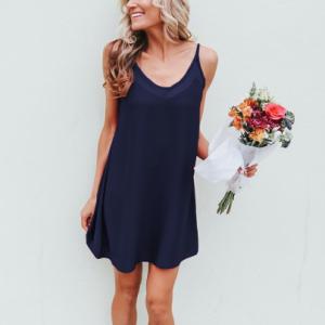 Spaghetti Strap Solid Color Party Wear Mini Dress - Blue